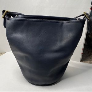 Vintage 1980's Navy Blue Coach XL Hobo Bucket Bag